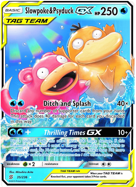 35/236 Slowpoke & Psyduck Tag Team GX Unified Minds - The Feisty Lizard