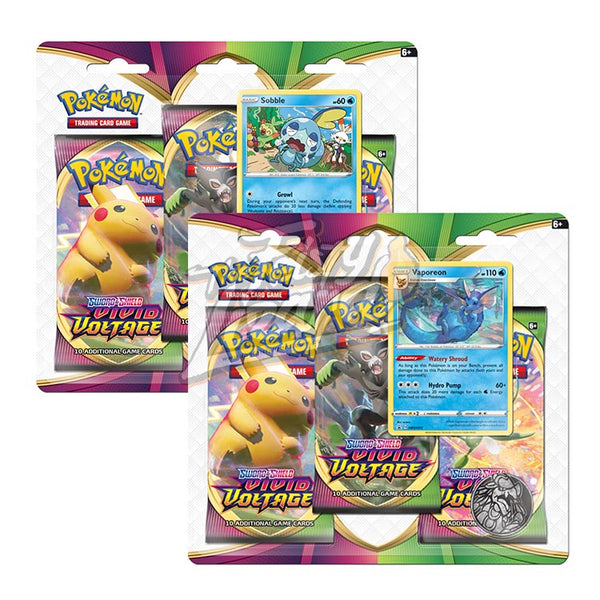Pokemon TCG Sword & Shield Vivid Voltage Three Booster Blister (PRE-ORDER) - The Feisty Lizard Melbourne Australia