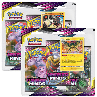 Pokemon TCG Sun & Moon Unified Minds 3 Pack Booster Blister - The Feisty Lizard