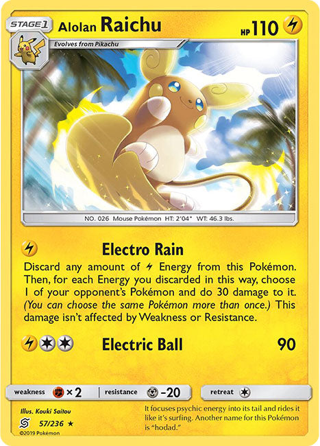 57/236 Alolan Raichu Holo Rare - The Feisty Lizard