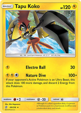 69/236 Tapu Koko Holo Rare - The Feisty Lizard