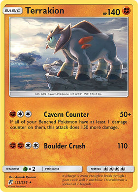 122/236 Terrakion Holo Rare - The Feisty Lizard