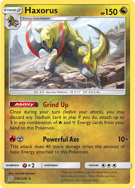 156/236 Haxorus Holo Rare - The Feisty Lizard