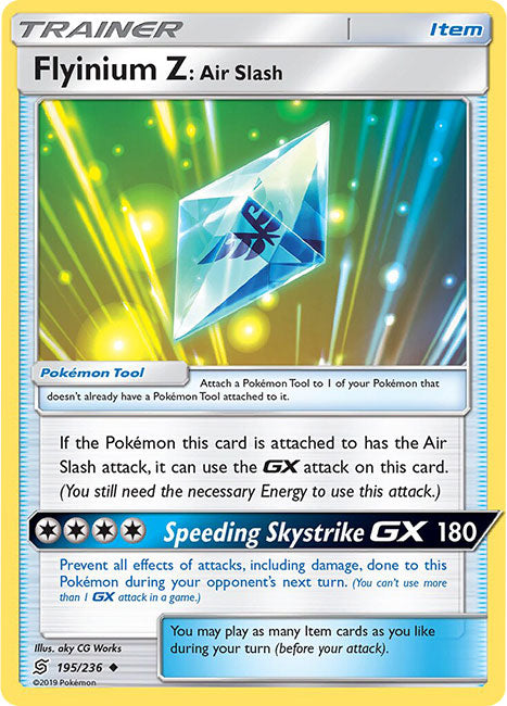 195/236 Flyinium Z: Air Slash Uncommon Trainer Unified Minds - The Feisty Lizard