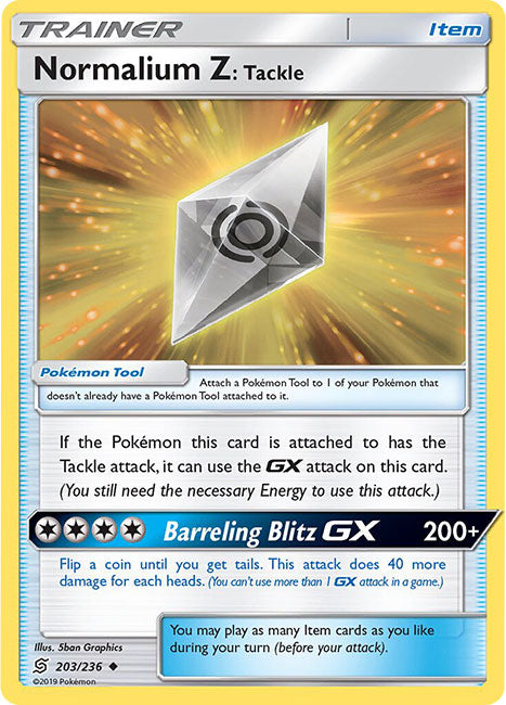 203/236 Normalium Z: Tackle Uncommon Trainer Unified Minds - The Feisty Lizard