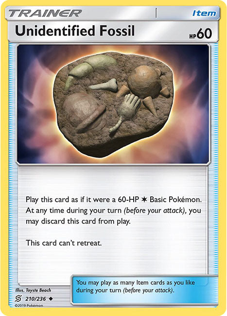 210/236 Unidentified Fossil Uncommon Trainer Unified Minds - The Feisty Lizard