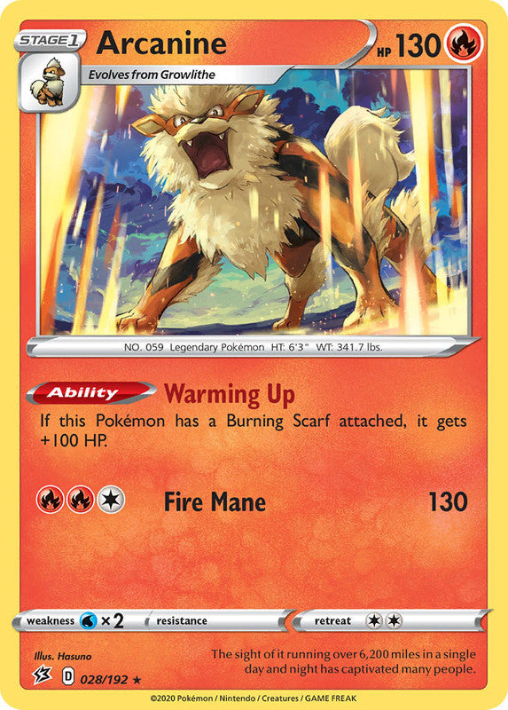 028/192 Arcanine Rare Rebel Clash - The Feisty Lizard Melbourne Australia