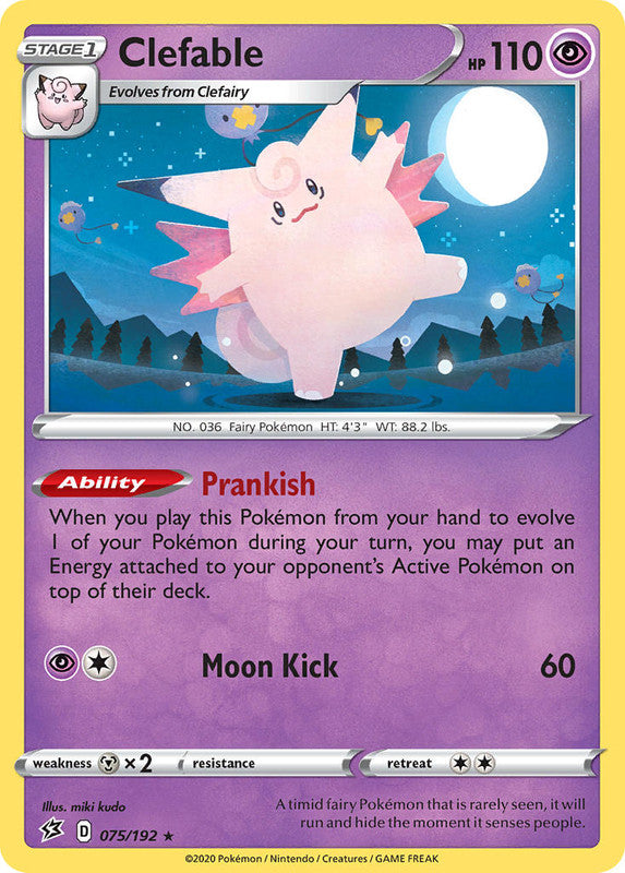 075/192 Clefable Holo Rare Rebel Clash - The Feisty Lizard Melbourne Australia