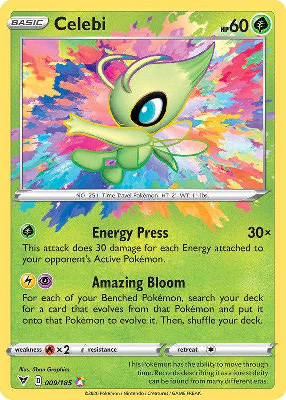 009/185 Celebi Amazing Holo Rare Vivid Voltage - The Feisty Lizard Melbourne Australia