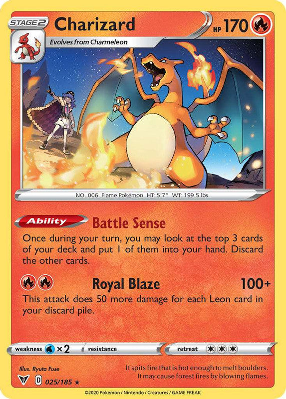 025/185 Charizard Rare Vivid Voltage - The Feisty Lizard Melbourne Australia
