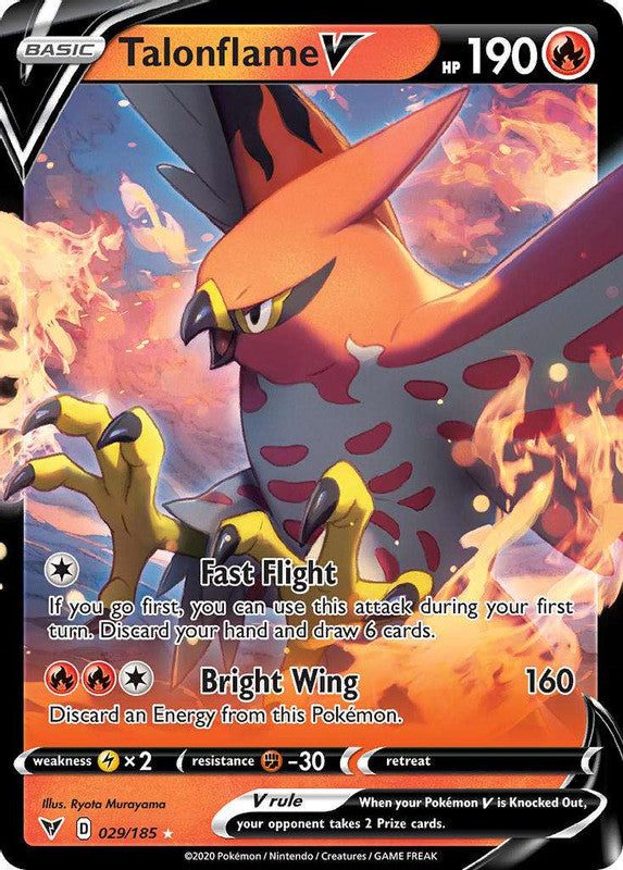 029/185 Talonflame V Ultra Rare Vivid Voltage - The Feisty Lizard Melbourne Australia