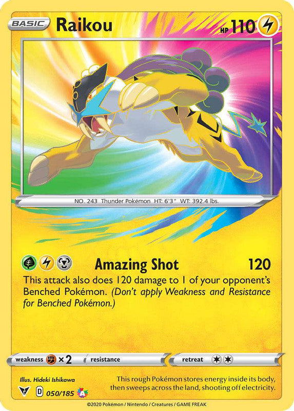 050/185 Raikou Amazing Holo Rare Vivid Voltage - The Feisty Lizard Melbourne Australia