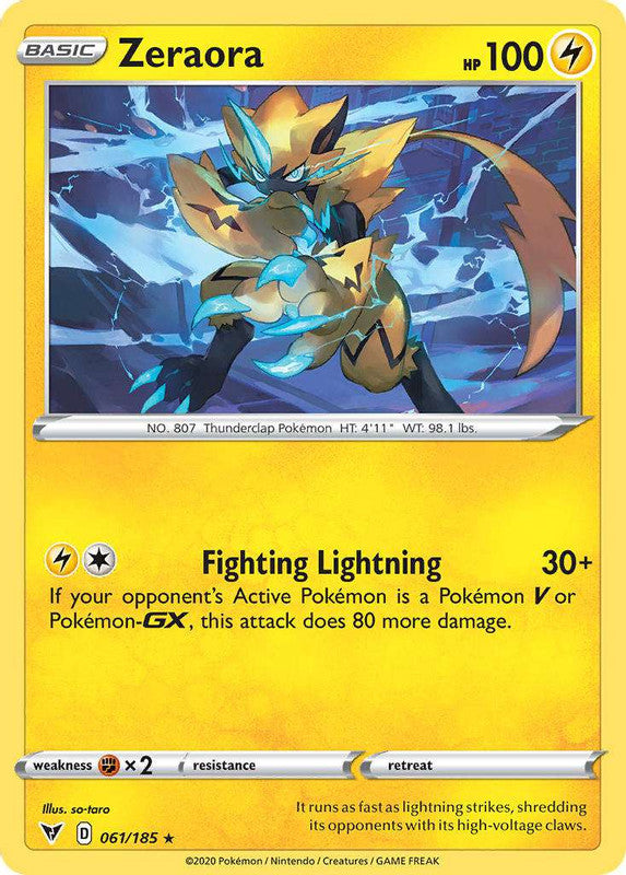061/185 Zeraora Holo Rare Vivid Voltage - The Feisty Lizard Melbourne Australia