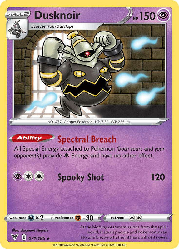 071/185 Dusknoir Holo Rare Vivid Voltage - The Feisty Lizard Melbourne Australia