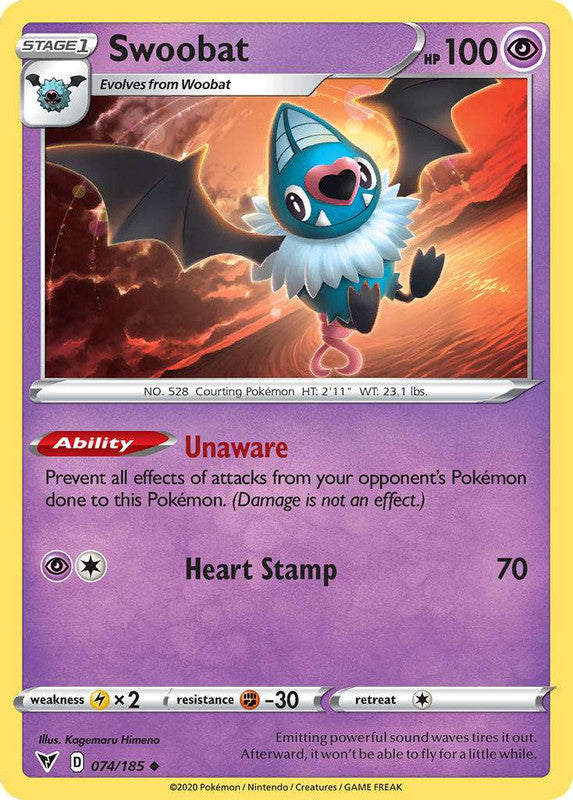 074/185 Swoobat Uncommon Vivid Voltage - The Feisty Lizard Melbourne Australia