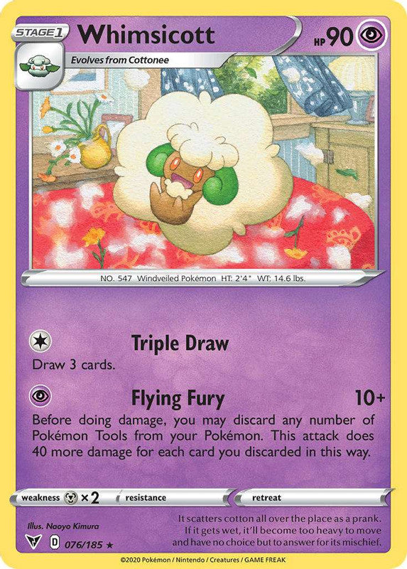 076/185 Whimsicott Rare Vivid Voltage - The Feisty Lizard Melbourne Australia