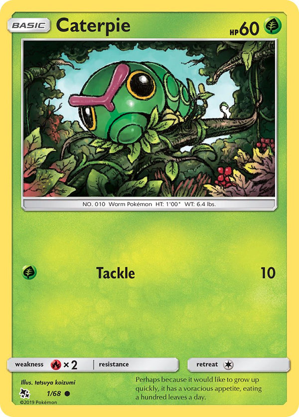 1/68 Caterpie Common Hidden Fates - The Feisty Lizard Melbourne Australia