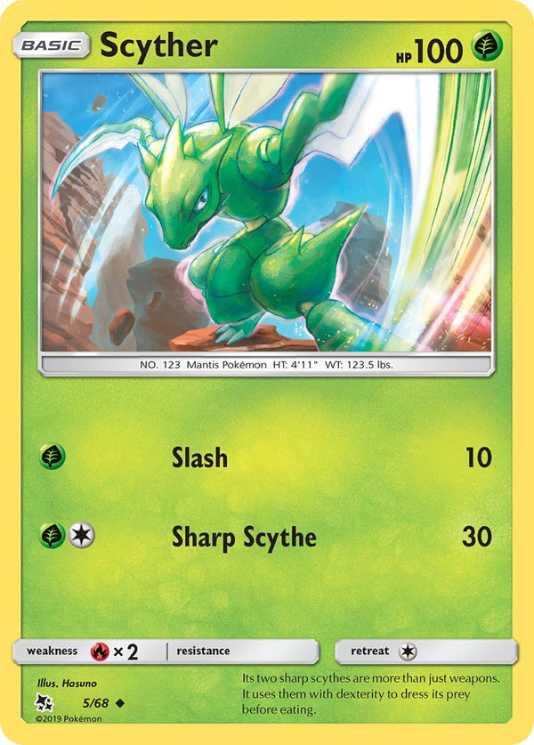 5/68 Scyther Uncommon Hidden Fates - The Feisty Lizard