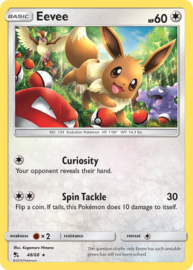 48/68 Eevee Holo Rare Hidden Fates - The Feisty Lizard