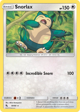 50/68 Snorlax Rare Hidden Fates - The Feisty Lizard