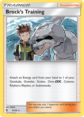 55/68 Brock's Training Trainer Holo Rare Hidden Fates - The Feisty Lizard