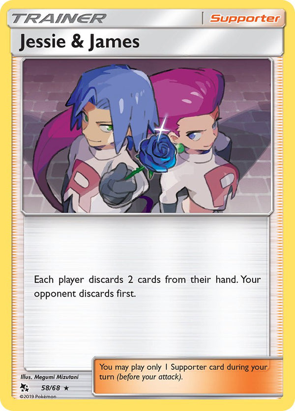 58/68 Jessie & James Trainer Holo Rare Hidden Fates - The Feisty Lizard