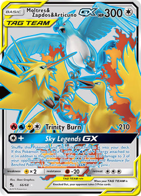 66/68 Moltres & Zapdos & Articuno GX Full Art Ultra Rare Hidden Fates - The Feisty Lizard