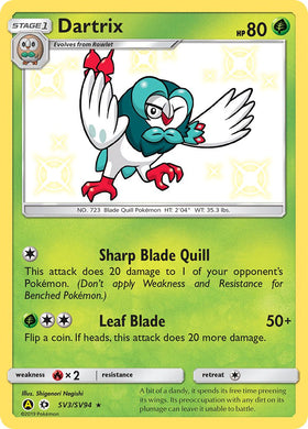 SV3/SV94 Dartrix Rare Holo Shiny Hidden Fates - The Feisty Lizard