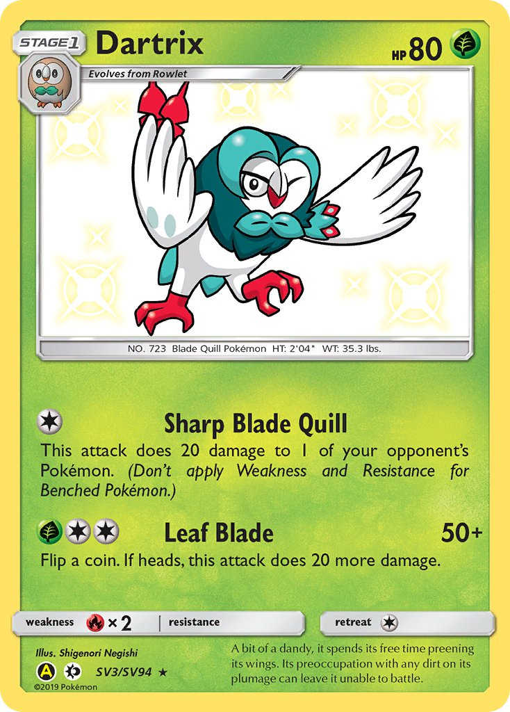 SV3/SV94 Dartrix Rare Holo Shiny Hidden Fates - The Feisty Lizard Melbourne Australia