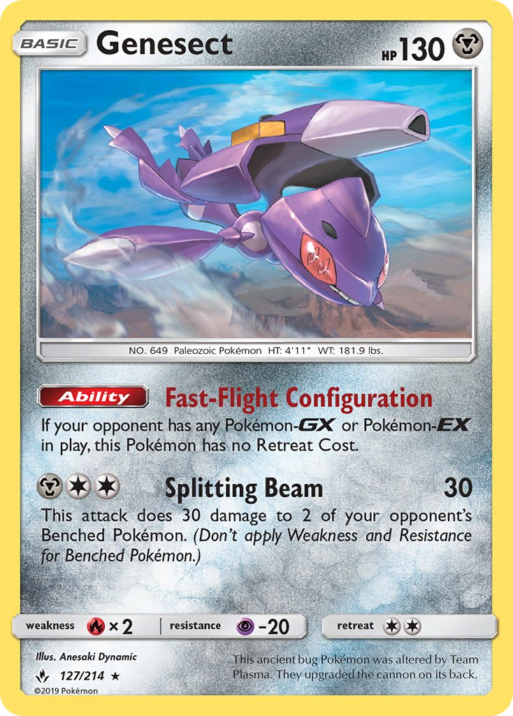 127/214 Genesect Rare Unbroken Bonds - The Feisty Lizard Melbourne Australia
