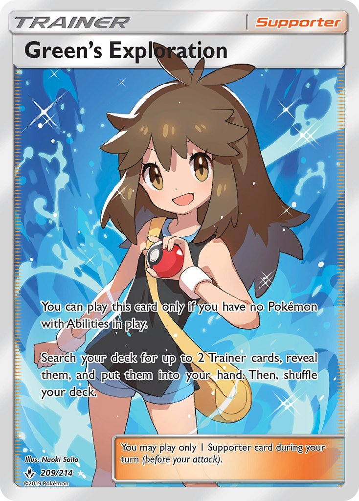 209/214 Green's Exploration Full Art Trainer Unbroken Bonds - The Feisty Lizard Melbourne Australia