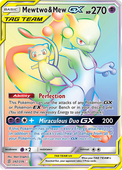 242/236 Mewtwo & Mew GX Tag Team Hyper Rare - The Feisty Lizard