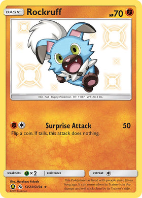 SV23/SV94 Rockruff Rare Holo Shiny Hidden Fates - The Feisty Lizard