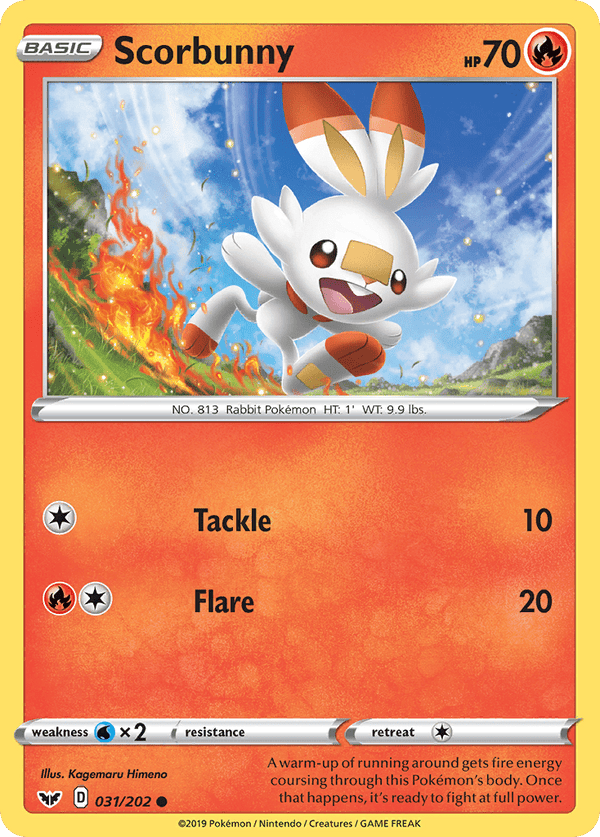 31/202 Scorbunny Common Sword & Shield Base Set - The Feisty Lizard Melbourne Australia