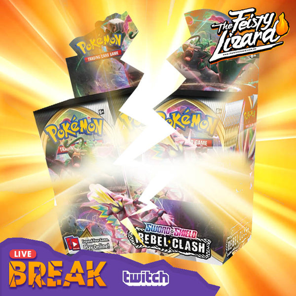 Pokemon TCG Rebel Clash Booster Box LIVE BREAK! (4 SPOT) - The Feisty Lizard Melbourne Australia