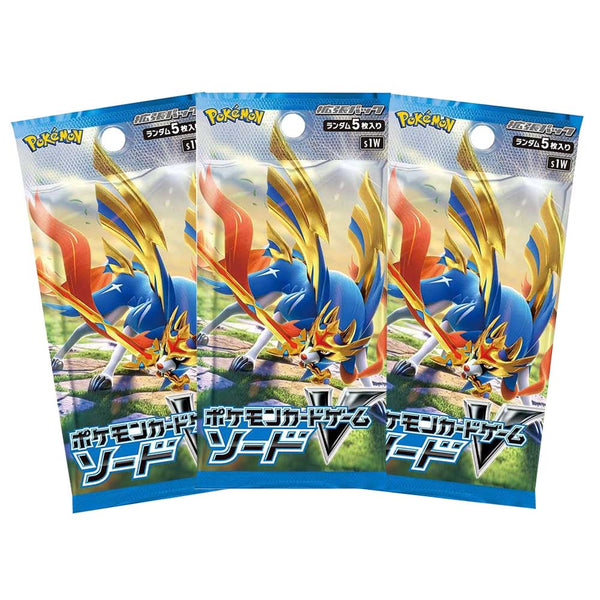 Pokemon TCG Sword & Shield S1W Sword Booster Pack x3 Japanese - The Feisty Lizard