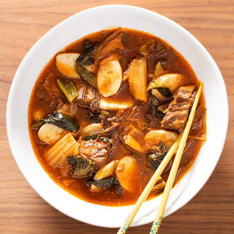 Beef + Kimchi Stew with Korean Rice Cakes