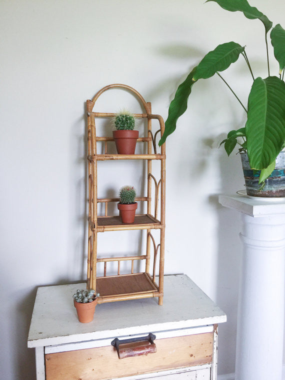 Vintage Bamboo Bentwood Wicker Wall Shelf Unit - Kari Beth
