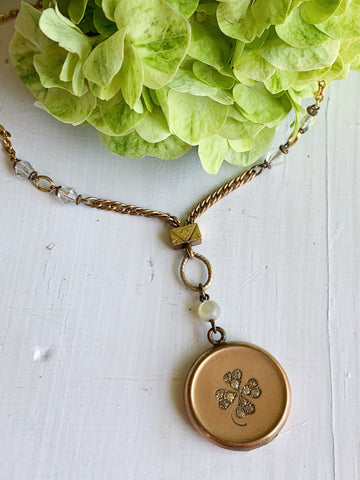 Rhinestone clover locket