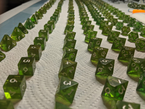 Goblin Horde dice lined up in rows