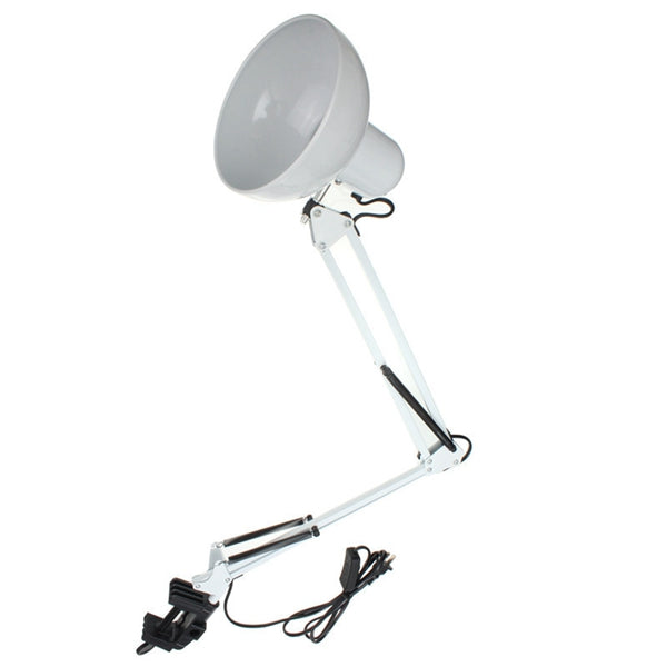 Adjustable Swing Arm Bedside Lamp Clamp On Study Reading Desk Table Light