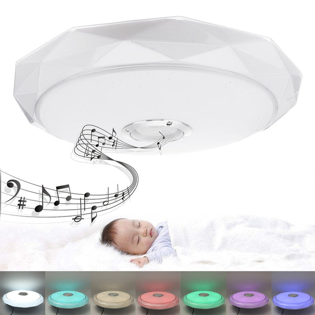 36W LED Ceiling Light Fixture App Control Panel Lamp with bluetooth Speaker Music Player AC85-265V