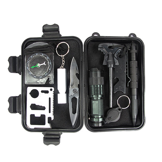 IPRee A1 10-in-1 Outdoor Multifunctional Survival Tools Kit Outdoor EDC Survival Emergency Kit