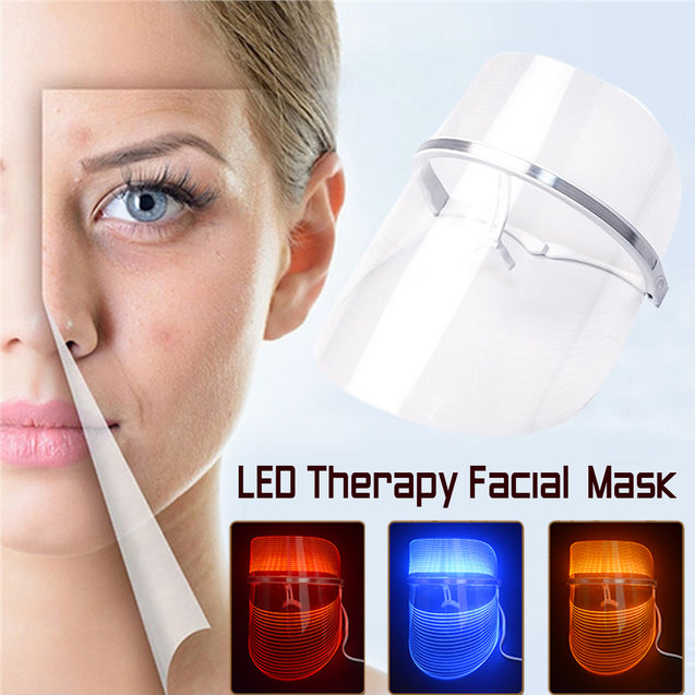 3 Colors LED Light Therapy Face Mask Anti Acne Anti Wrinkle Facial SPA Instrument Treatment Beauty Machine Face Skin Care Tools