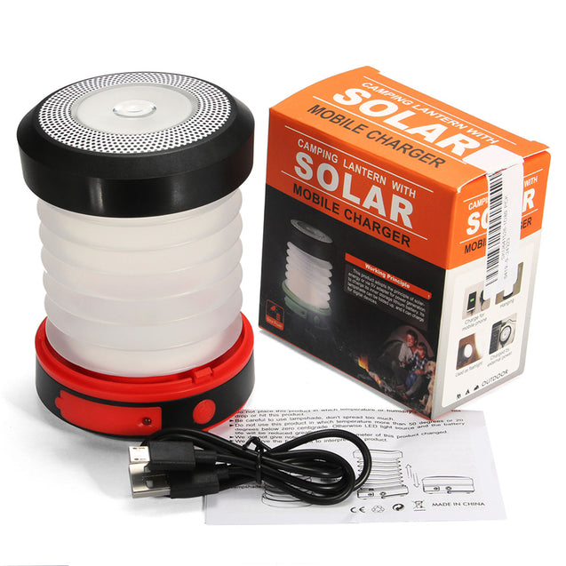 IPRee Collapsible Mini Solar Lantern Camping Tent LED USB Rechargeable Portable Flashlight Lamp