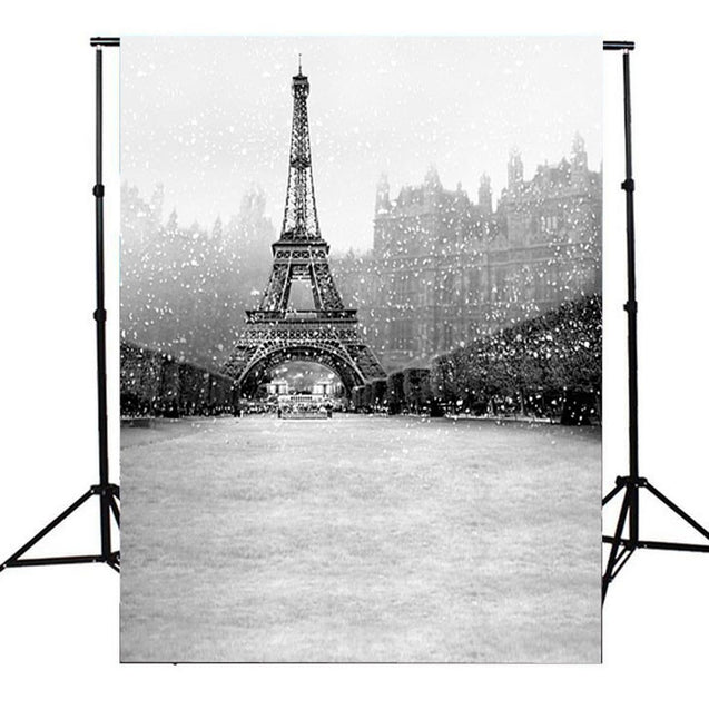 3x5ft Vinyl Snowflake Eiffel Tower Photography Background Backdrop For Studio Prop