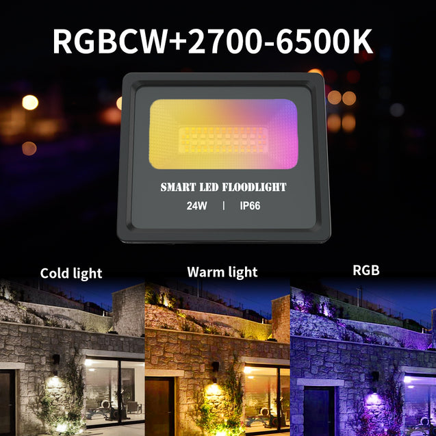 24W Smart BT Mesh LED Flood Light Waterproof IP66 2000LM Floodlight RGBCW APP Control