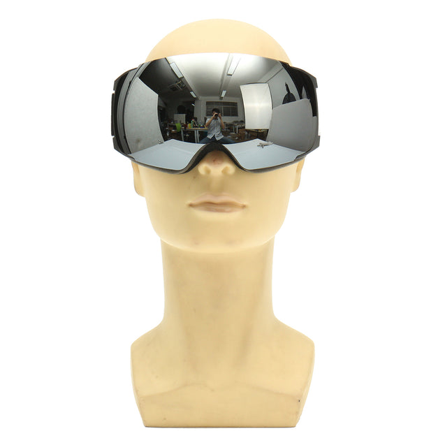 Ski Goggles UV Protection Snowboard Magnet Anti Fog Double Lens Black Frame