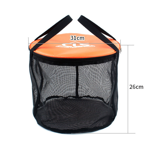 IPRee 30L Outdoor Double-Layer Folding Bucket Portable Camp Wash Bag Pouch Mesh Basket