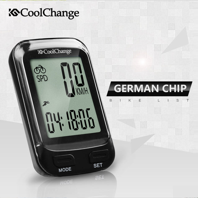 CoolChange 57019 Bicycle Computer Wireless Waterproof Speedometer Odometer with LCD Backlight